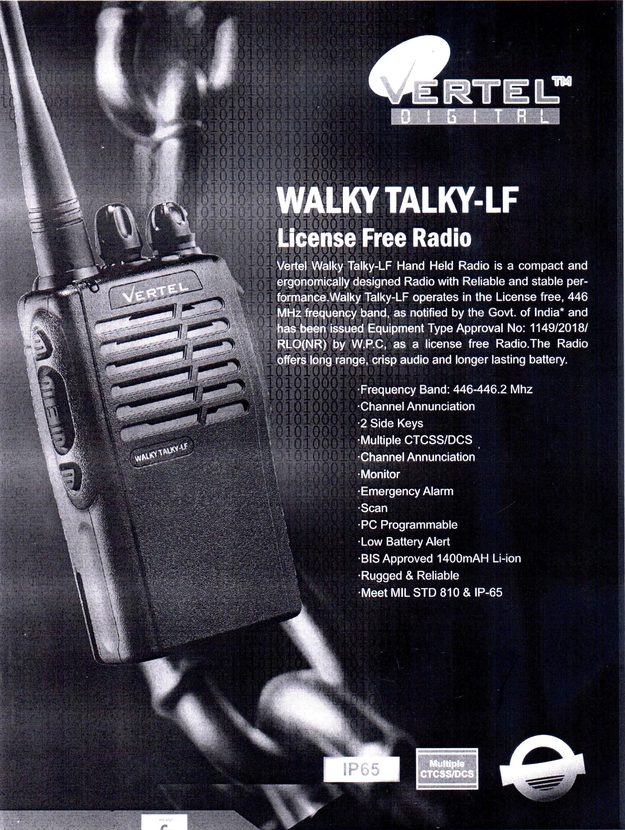 VERTEL WALKY TALKY LICENSE FREE RADIO_1